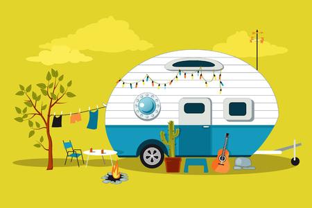 Cartoon reizen scène met een vintage camper, een vuurplaats, camping tafel en waslijn Vector Illustratie