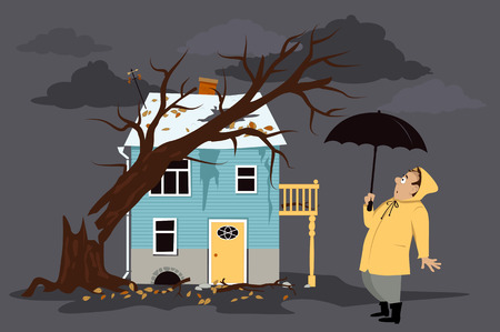 Upset homeowner standing in front of a house damaged by a fallen tree Vectores