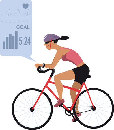 women working out: Female biker wearing an activity tracker, fitness app on the background