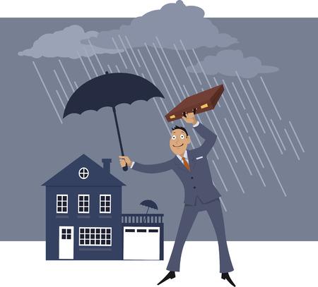 Agent d'assurance habitation debout sous la pluie et tenant un parapluie au-dessus d'une maison Vecteurs
