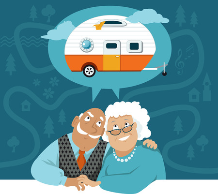 Un couple de personnes âgées à rêver d'un camping-car remorque, feuille de route de bande dessinée sur le fond