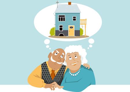 退職コテージを夢見ている高齢者のカップル