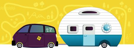 roadtrip: Van hauling a camper trailer Illustration
