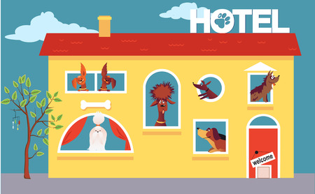 pet: Cartoon hotel building occupied by cute dogs