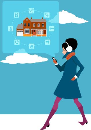 Young woman checking a home security system on her smart-phone Ilustracja