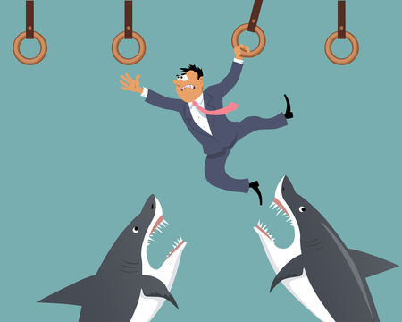 Businessman moving forward, using a row of gymnastic rings, sharks trying to catch him