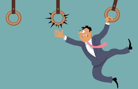 unpleasant: Businessman attempting to move forward using gym rings and facing a dangerous and unpleasant choice Illustration
