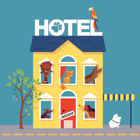 cartoon parrot: Hotel for pets occupied by dogs, a cat, a parrot and a pig Illustration