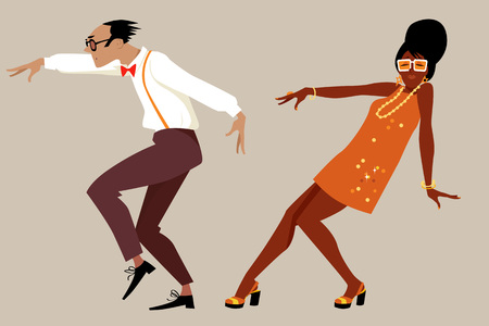 craze: Couple dressed in 1960 fashion dancing a novelty dance, EPS 8 vector illustration, no transparencies