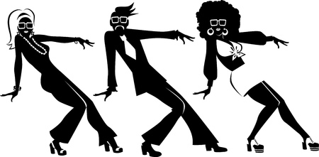 three objects: EPS 8 vector silhouette of three people dressed in 1970s fashion dancing, no white objects
