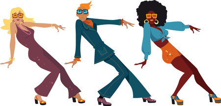 craze: Three people dressed in 1970s fashion dancing a novelty dance, EPS 8 vector illustration, no transparences Illustration
