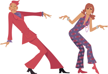Couple dressed in late 1960s early 1970s fashion dancing a novelty dance, EPS 8 vector illustration, no transparencies