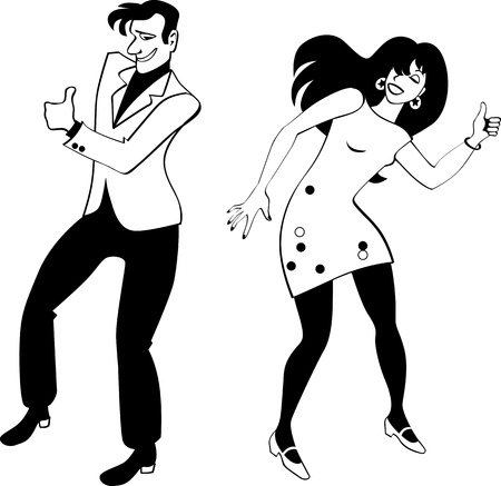 craze: Young couple dressed in retro style clothes doing the Hitch Hike dance, EPS 8 vector silhouette, no white objects Illustration