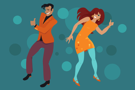 craze: Young couple dressed in retro style clothes doing the Hitch Hike dance, EPS 8 vector illustration Illustration