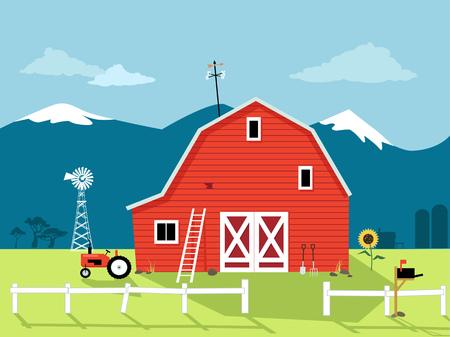Scène van het land met een rode schuur, windmolen en een tractor, EPS 8 vector illustratie, geen transparanten