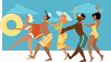 해변, EPS 8 벡터 일러스트 레이 션, 아니 투명지에 콩가 라인 춤 수영복에있는 사람들의 다양 한 그룹