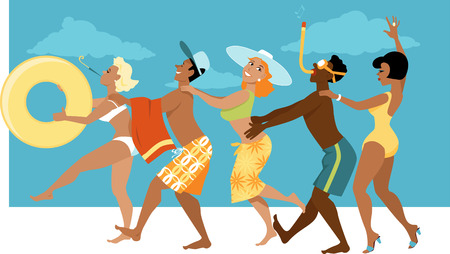 Diverse groep van mensen in zwemkleding dansen een conga lijn op een strand, EPS 8 vector illustratie, geen transparanten