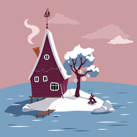 frozen lake: Winter scene with a cartoon house on a small island in the middle of a frozen lake, EPS 8 vector illustration, no transparencies Illustration