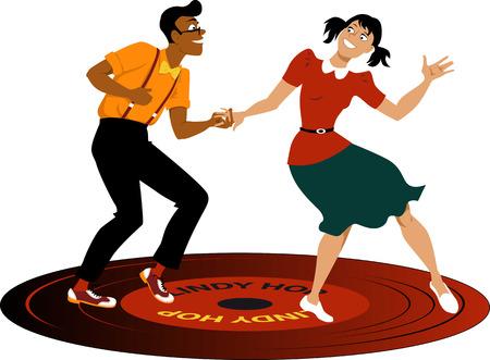 Het jonge paar gekleed in vintage kleding dansen lindy hop op een vinylplaat