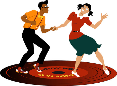 attire: Young couple dressed in vintage attire dancing lindy hop on a vinyl record