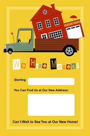 moved: We have moved card with copy spaces for a date and a new address, EPS 8 vector illustration
