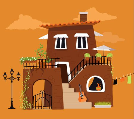 Cartoon villa in the traditional Italian or Spanish style, EPS 8 vector illustration, no transparencies