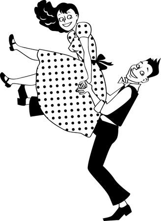 EPS 8 vector silhouet van een jong koppel gekleed in vintage mode uitvoeren van een rock and roll lift, geen witte objecten