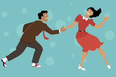 Paar gekleed in 1940 mode dansende lindy hop of swing, EPS 8 vector illustratie, geen transparanten