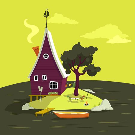 lake house: Cartoon vacation house on a small island in the middle of a lake, EPS 8 vector illustration, no transparencies Illustration