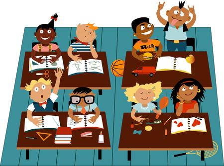 Basisschoolklaslokaal gevuld met diverse kinderen personages, EPS 8 vector illustratie