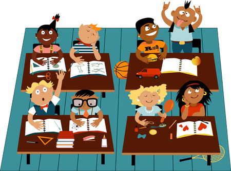 Elementary school classroom filled with diverse children characters, EPS 8 vector illustration