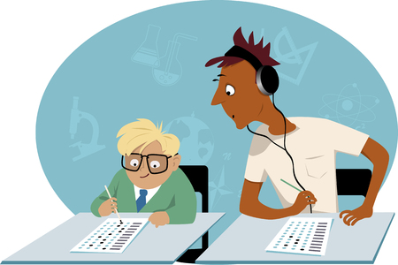 exceptional: Teenage student peeking into a little kid test, EPS 8 vector illustration, no transparencies
