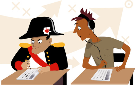 Test taking strategies. A teen peeking into a test of a person in a Napoleon costume, EPS 8 vector illustration, no transparencies Ilustração