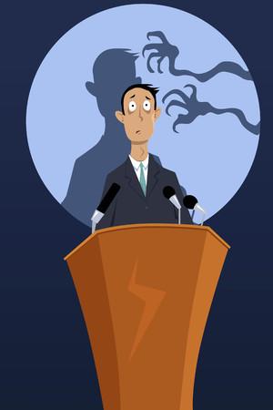 orador: manos espeluznantes que llegan a la sombra de un hombre, de pie en un podio, como una metáfora de un miedo a hablar en público, EPS 8 ilustración vectorial, no transparencias
