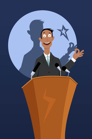 Confident businessman giving a talk from a podium, EPS 8 vector illustration, no transparencies