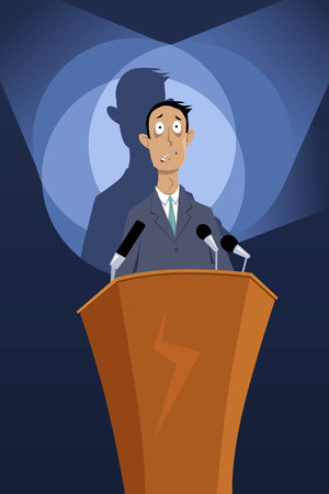 Man standing on a podium under spotlights, paralyzed by speech anxiety, EPS 8 vector illustration, no transparencies