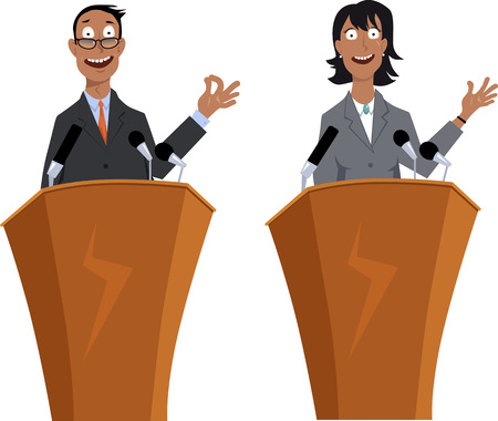 Male and female public speaker, EPS 8 vector cartoon characters, isolated on white, no transparencies Иллюстрация