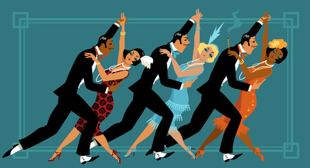 Group of people dressed in retro fashion dancing, EPS 8 vector illustration