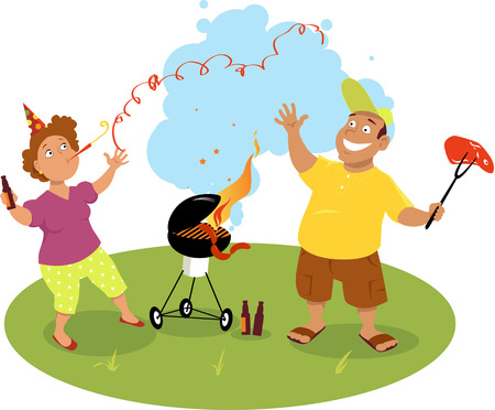 woman middle age: Happy middle age couple grilling meat on a barbecue and celebrating the beginning of summer, EPS 8 vector illustration, no transparencies Illustration