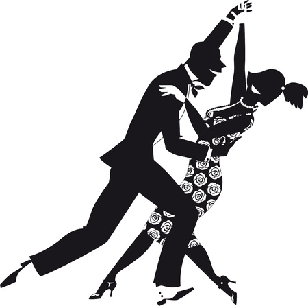 period costume: Black vector silhouette of a couple, dressed in 1920s fashion, dancing. EPS 8, no white objects