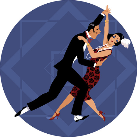 period costume: Couple dressed in 1920s fashion dancing on a geometric background, EPS 8 vector illustration, no transparencies Illustration
