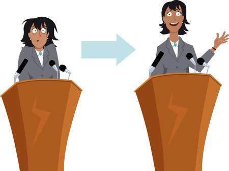Ansiosos carácter de negocios antes y después del entrenamiento para hablar en público, EPS 8 ilustración vectorial