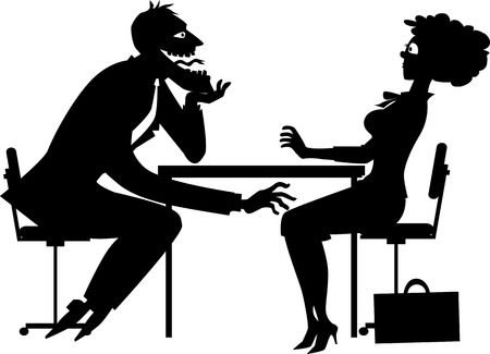 harassing: Black silhouette of a sleazy businessman harassing a shocked female colworker, no white objects Illustration