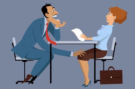 hombre de negocios de mala calidad acosar a un compañero de trabajo femenino sorprendida, EPS8 ilustración vectorial, no transparencias