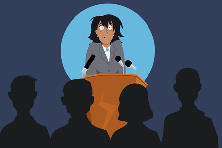 fear woman: Terrified female speaker on a stage in front of the audience, EPS 8 vector illustration, no transparencies