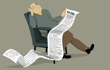 Hombre abrumado que se sienta en una silla, sosteniendo una manera cómica larga lista de tareas. EPS 8 ilustración vectorial, no transparencias Ilustración de vector