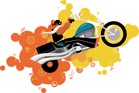 cartoon biker: Cartoon biker character, blast of music symbols and gears on the background, EPS 8 vector illustration, no transparencies Illustration