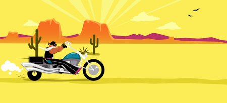 western usa: Cartoon biker riding a motorcycle, South Western USA landscape on the background, EPS 8 vector illustration, no transparencies