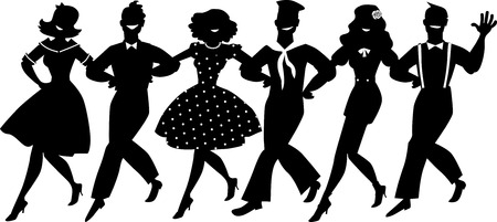 A chorus line of male and female performers dressed in vintage fashion dancing a routine in a classic musical theater, EPS 8 vector silhouette, no white objects