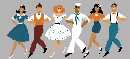 A chorus line of male and female performers dressed in vintage fashion dancing a routine in a classic musical theater, EPS 8 vector illustration Illustration